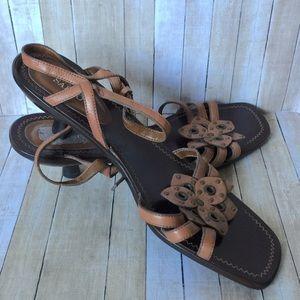 Franco Sarto Tan Strappy Kitten Heel Sandal
